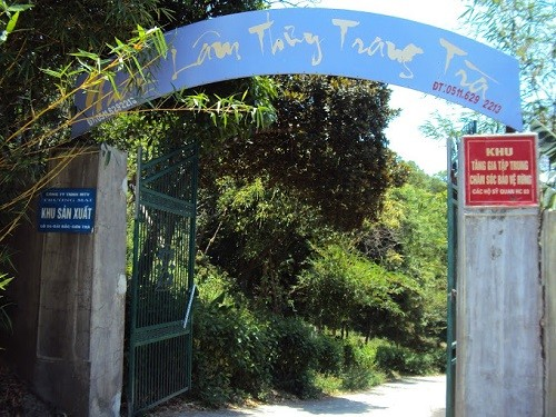 The entrance to the 'Nhat Lam Thuy Trang Tra' ecotourism site